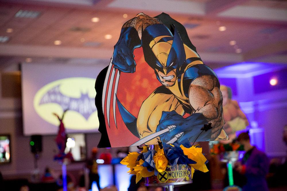 Elis Superheros | WolverineCenterpiece| Bar Mitzvah superhero theme, comic book theme, Superman, Batman, X-men, Marvel,decor by Innovative Party Planners at Ten Oaks