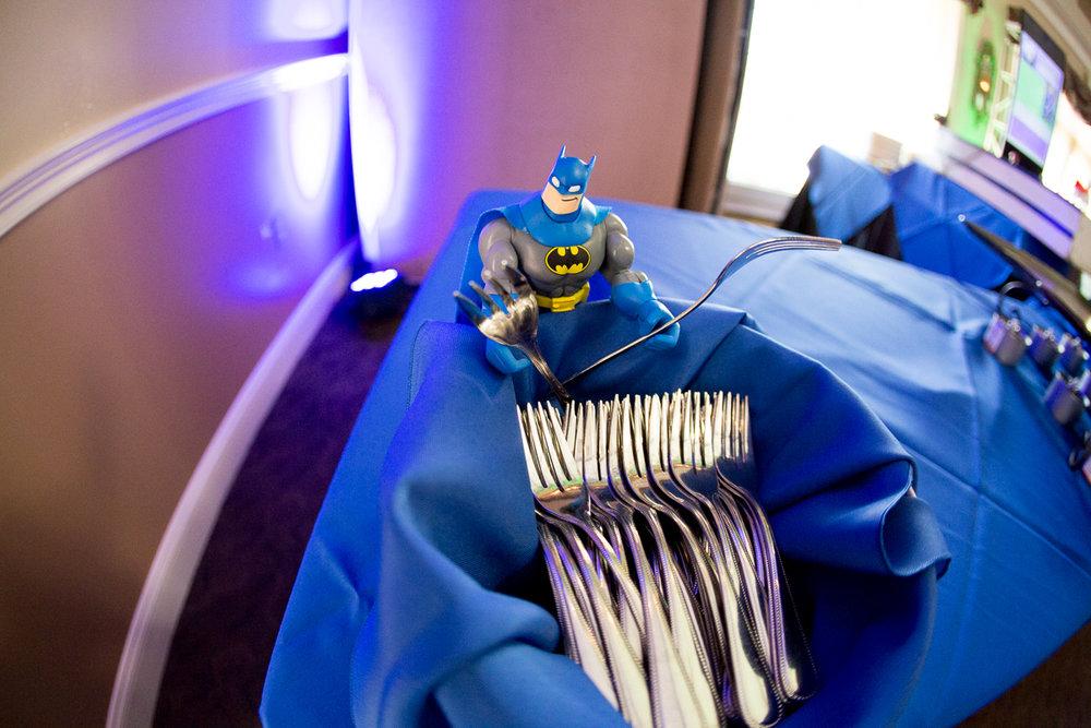 Elis Superheros | Buffet | Bar Mitzvah superhero theme, comic book theme, Superman, Batman, X-men, Marvel,decor by Innovative Party Planners at Ten Oaks