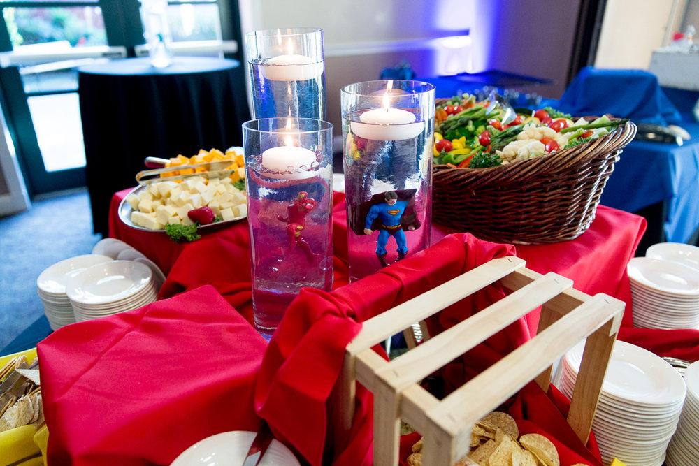 Elis Superheros | Buffet Centerpieces | Bar Mitzvah superhero theme, comic book theme, Superman, Batman, X-men, Marvel,decor by Innovative Party Planners at Ten Oaks