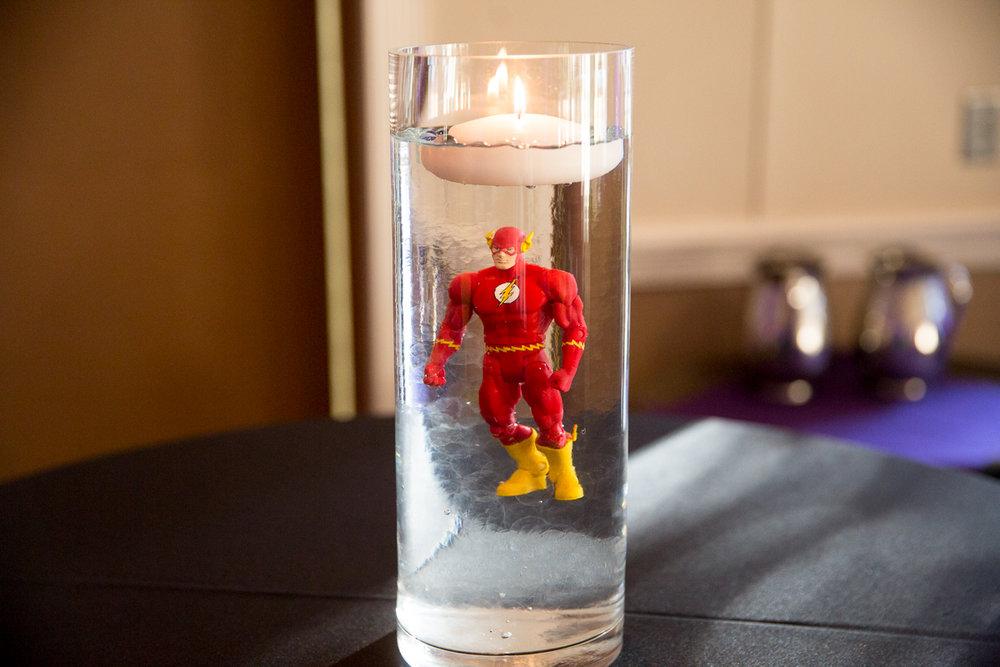 Elis Superheros | Cocktail Table Centerpieces The Flash | Bar Mitzvah superhero theme, comic book theme, Superman, Batman, X-men, Marvel,decor by Innovative Party Planners at Ten Oaks