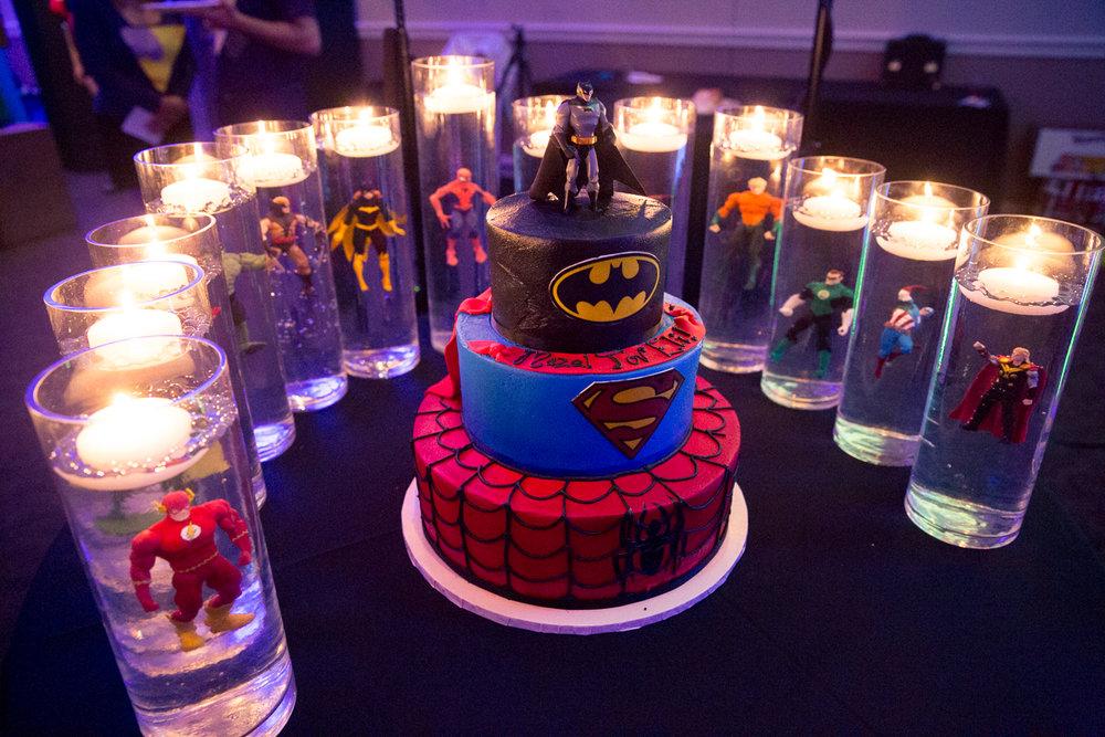 Elis Superheros | Candle Lighting | Bar Mitzvah superhero theme, comic book theme, Superman, Batman, X-men, Marvel,decor by Innovative Party Planners at Ten Oaks