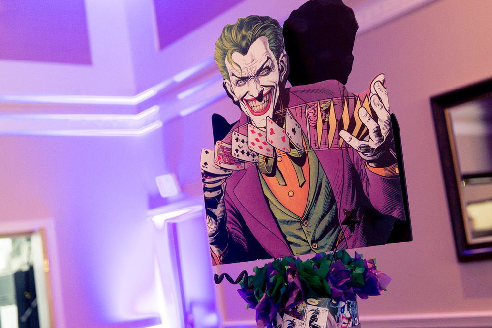 Elis Superheros | The JokerCenterpiece| Bar Mitzvah superhero theme, comic book theme, Superman, Batman, X-men, Marvel,decor by Innovative Party Planners at Ten Oaks