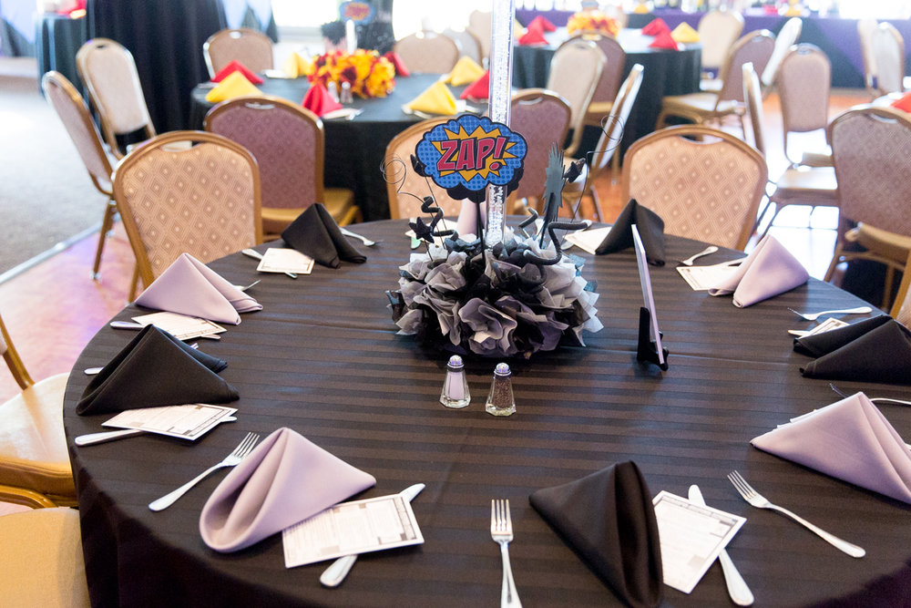 Elis Superheros | Adult Centerpieces | Bar Mitzvah superhero theme, comic book theme, Superman, Batman, X-men, Marvel,decor by Innovative Party Planners at Ten Oaks