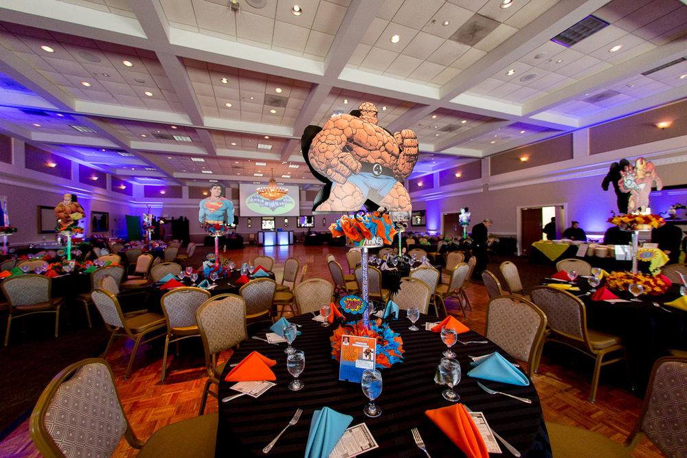 Elis Superheros | Adult Tables | Bar Mitzvah superhero theme, comic book theme, Superman, Batman, X-men, Marvel,decor by Innovative Party Planners at Ten Oaks