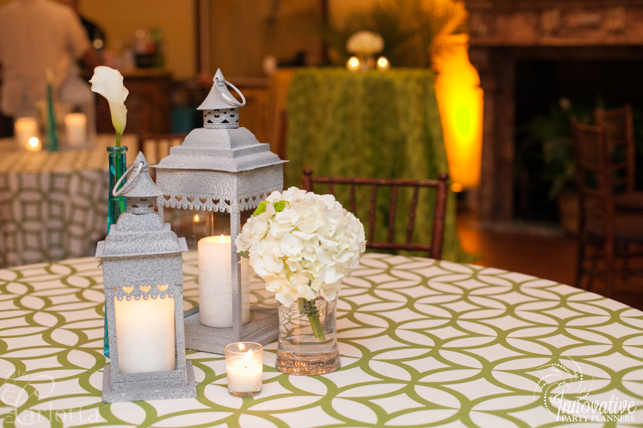 Anniversary Party | Lantern Centerpieces| Travel theme decor by Innovative Party Planners at the Gramercy Mansion Carriage House