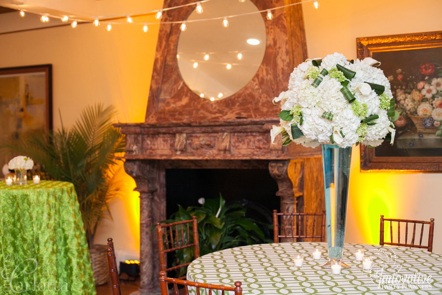 Anniversary Party | Flower Centerpieces| Travel theme decor by Innovative Party Planners at the Gramercy Mansion Carriage House