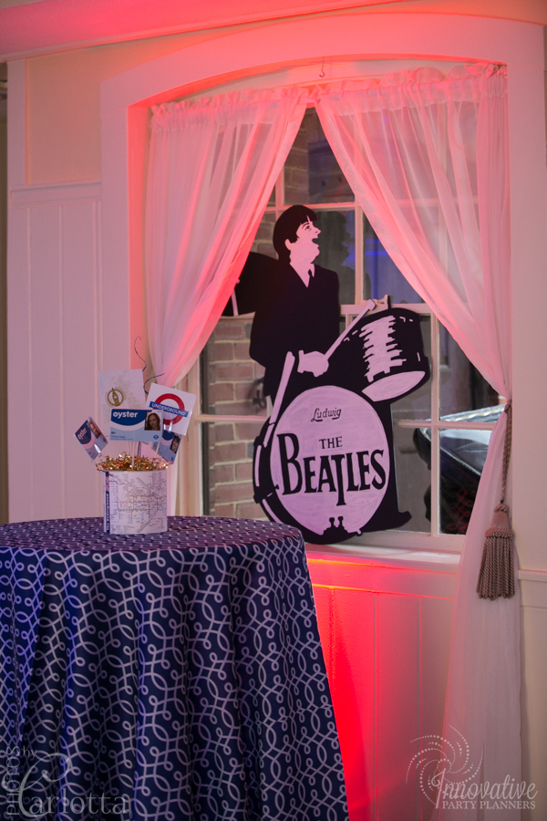 Anniversary Party | Beatles Signs | Travel theme decor by Innovative Party Planners at the Gramercy Mansion Carriage House