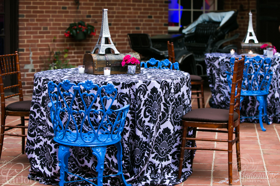 Anniversary Party | Centerpieces| Travel theme decor by Innovative Party Planners at the Gramercy Mansion Carriage House