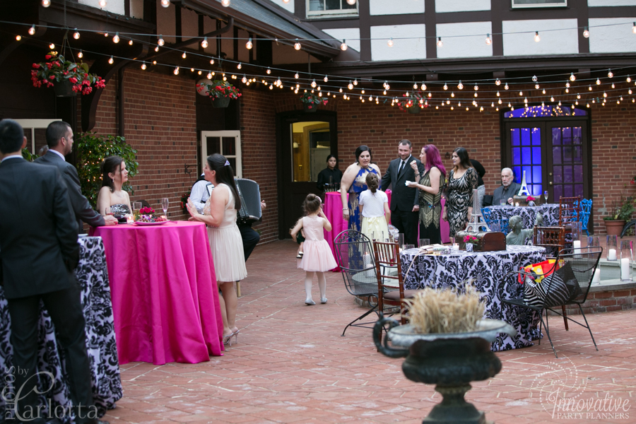 Anniversary Party | Garden Party| Travel theme decor by Innovative Party Planners at the Gramercy Mansion Carriage House