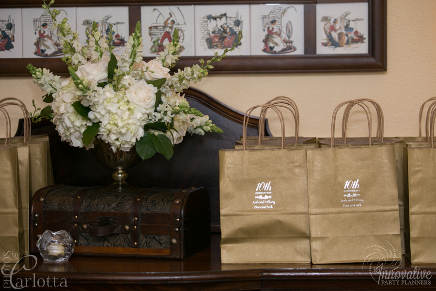 Anniversary Party | Party Favors| Travel theme decor by Innovative Party Planners at the Gramercy Mansion Carriage House