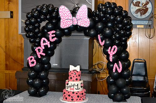 Minnie_Mouse_First  Birthday_Balloon_Cake and Arch.jpg