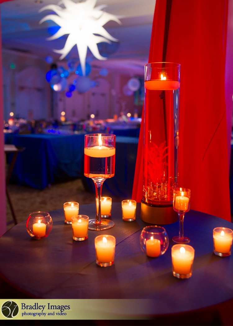 Cirque du SoLexi | Votive Candles | Bat Mitzvah cirque theme, fire and ice theme, fire and water theme, decor by Innovative Party Planners at Woodholme Country Club