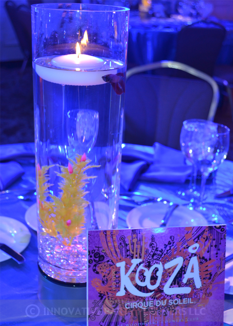 Cirque du SoLexi | Table Names and Centerpieces | Bat Mitzvah cirque theme, fire and ice theme, fire and water theme, decor by Innovative Party Planners at Woodholme Country Club