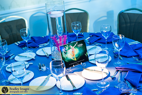 Cirque du SoLexi | Centerpieces | Bat Mitzvah cirque theme, fire and ice theme, fire and water theme, decor by Innovative Party Planners at Woodholme Country Club