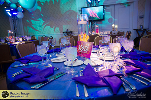 Cirque du SoLexi | Tables | Bat Mitzvah cirque theme, fire and ice theme, fire and water theme, decor by Innovative Party Planners at Woodholme Country Club
