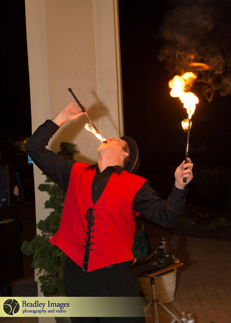Cirque du SoLexi | Fire Eaters | Bat Mitzvah cirque theme, fire and ice theme, fire and water theme, decor by Innovative Party Planners at Woodholme Country Club