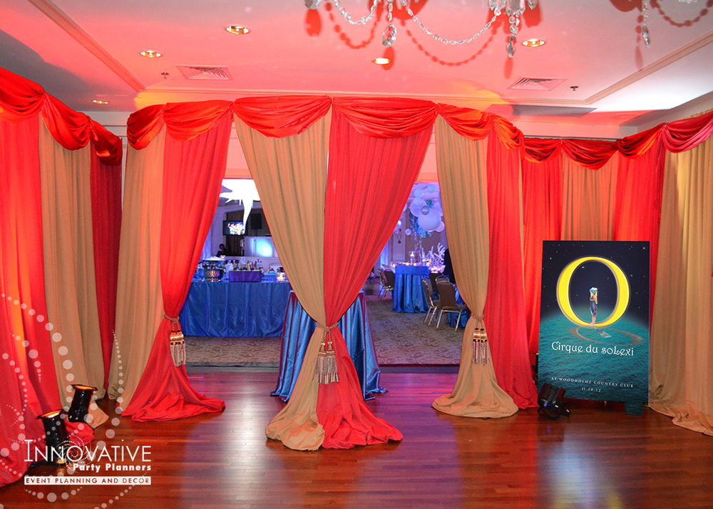 Cirque du SoLexi | Grand Entrance | Bat Mitzvah cirque theme, fire and ice theme, fire and water theme, decor by Innovative Party Planners at Woodholme Country Club