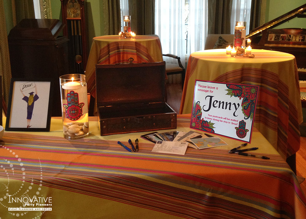 Graduation Party| Postcard Table| Decor by Innovative Party Planners
