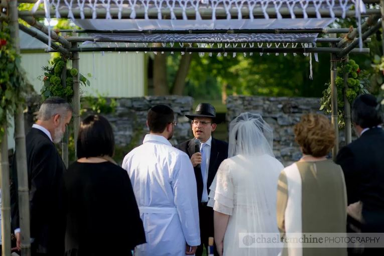 Wedding at Stock's Manor | Chuppah Ceremony | decor by Innovative Party Planners