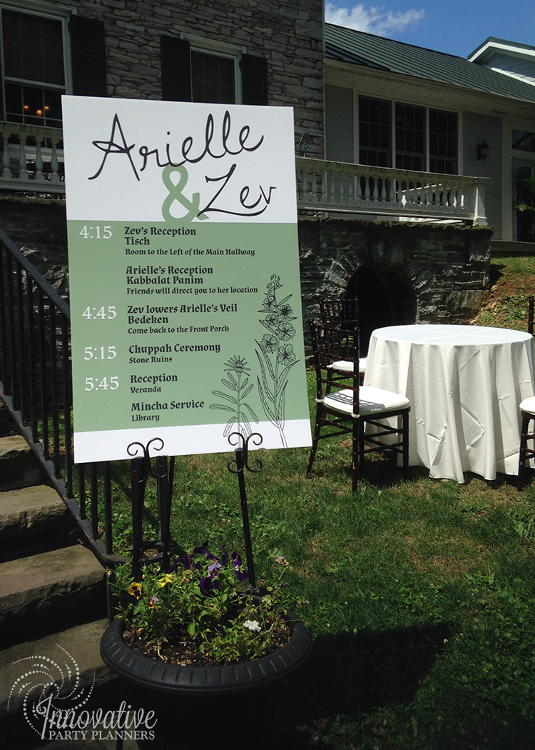Wedding at Stock's Manor | Wedding Timeline Sign | decor by Innovative Party Planners