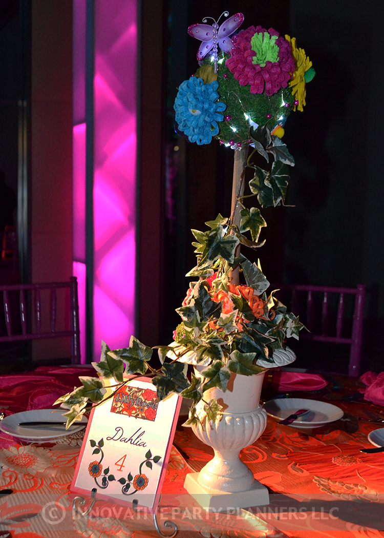 Lilly Rose | Adult Table Centerpieces | Bat Mitzvah pink and orange monet garden theme decor by Innovative Party Planners at Four Seasons