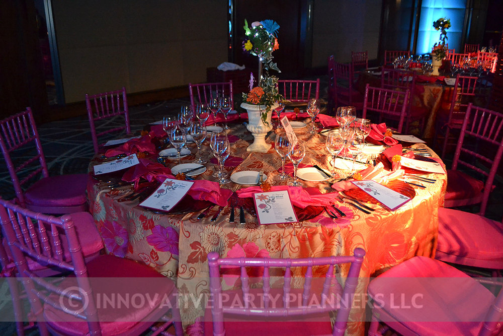 Lilly Rose | Adult Tables | Bat Mitzvah pink and orange monet garden theme decor by Innovative Party Planners at Four Seasons