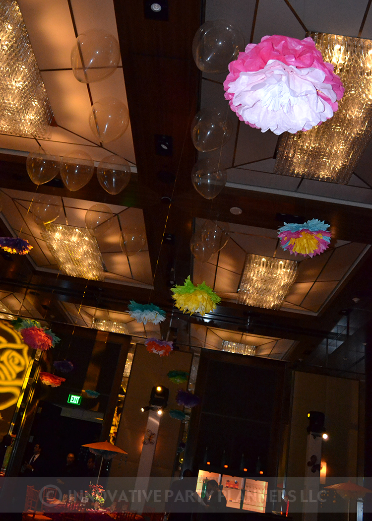 Lilly Rose | Ceiling Decorations | Bat Mitzvah pink and orange monet garden theme decor by Innovative Party Planners at Four Seasons