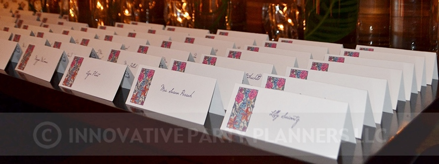 Lilly Rose | Place Cards | Bat Mitzvah pink and orange monet garden theme decor by Innovative Party Planners at Four Seasons