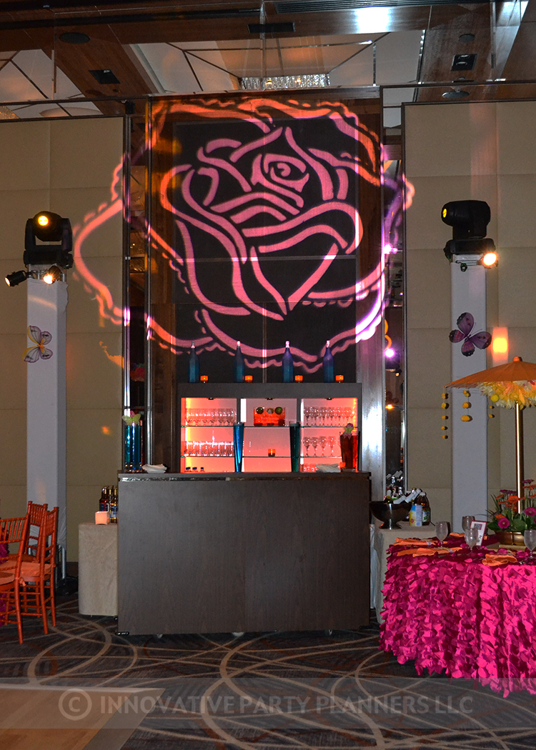 Lilly Rose | Bar | Bat Mitzvah pink and orange monet garden theme decor by Innovative Party Planners at Four Seasons