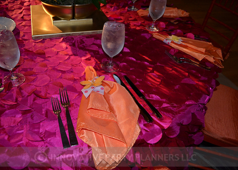 Lilly Rose | Butterfly Napkin Rings | Bat Mitzvah pink and orange monet garden theme decor by Innovative Party Planners at Four Seasons