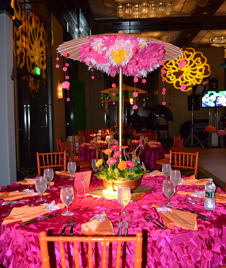Lilly Rose | Teen Tables | Bat Mitzvah pink and orange monet garden theme decor by Innovative Party Planners at Four Seasons