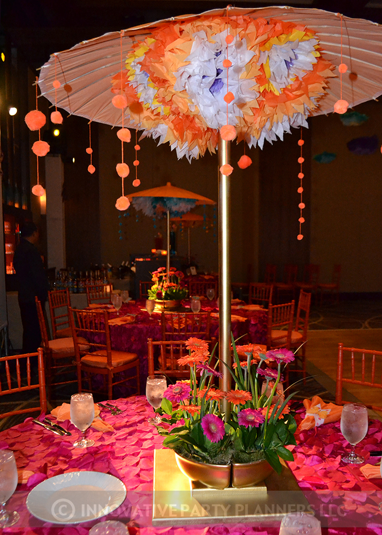 Lilly Rose | Teen Table Centerpieces | Bat Mitzvah pink and orange monet garden theme decor by Innovative Party Planners at Four Seasons