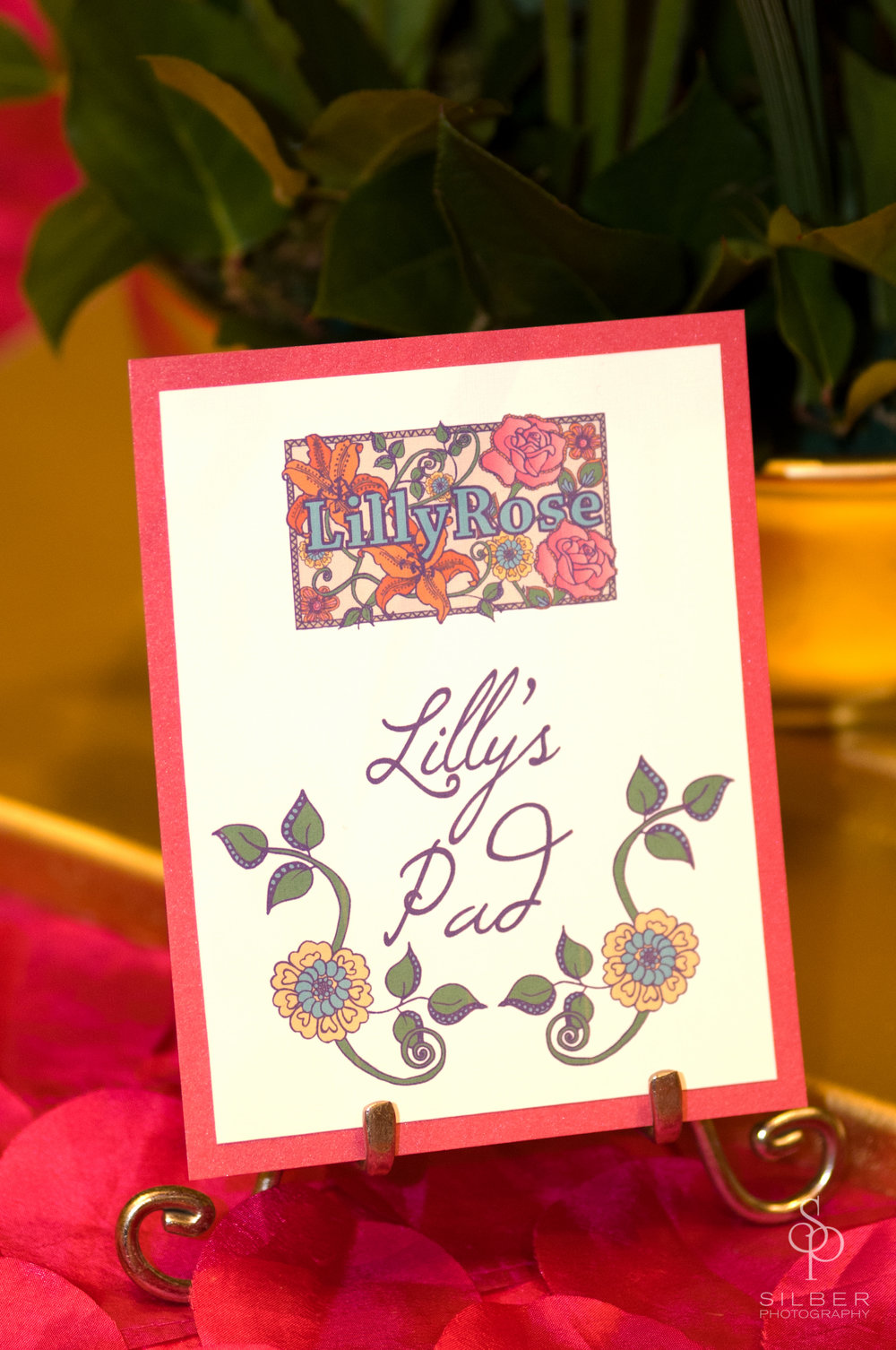 Lilly Rose | Table Names | Bat Mitzvah pink and orange monet garden theme decor by Innovative Party Planners at Four Seasons