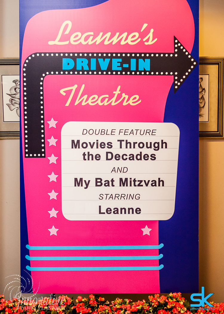 Leannes Drive In Movies and Decades | Welcome Sign | Bat Mitzvah movie theme decor by Innovative Party Planners at Oheb Shalom