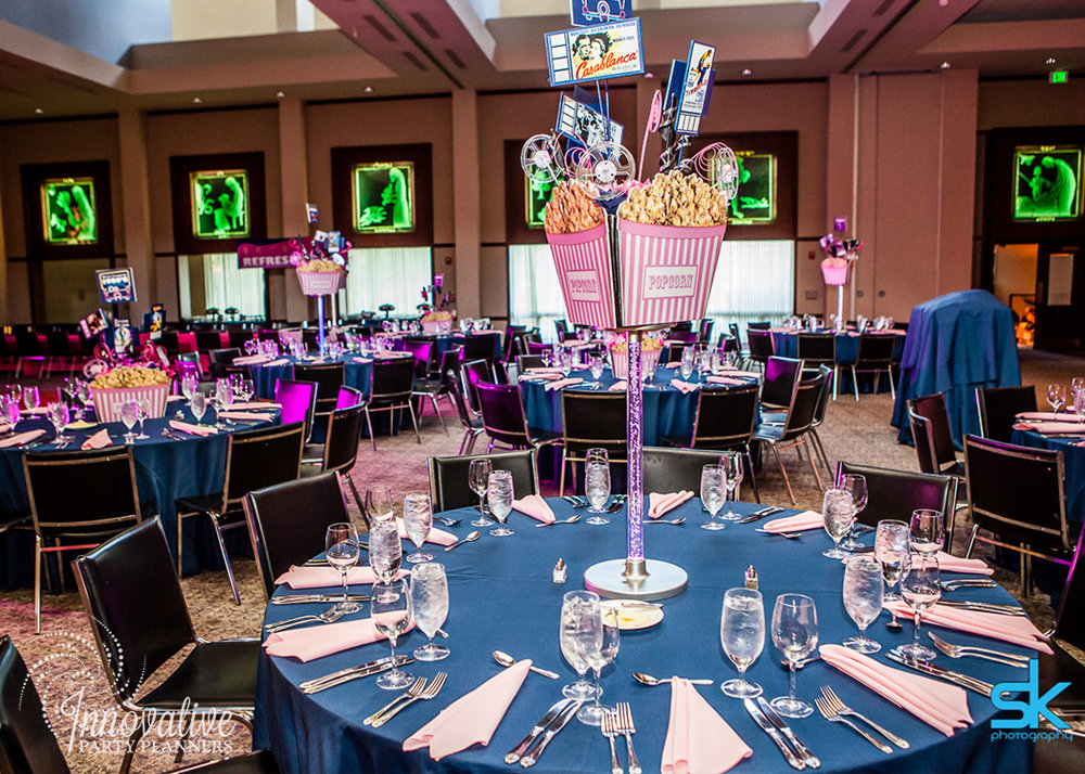 Leannes Drive In Movies and Decades | Adult Tables | Bat Mitzvah movie theme decor by Innovative Party Planners at Oheb Shalom