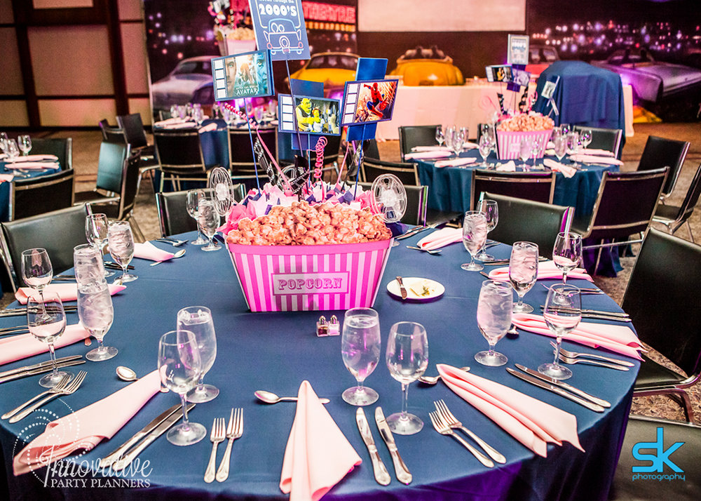 Leannes Drive In Movies and Decades | Adult Table| Bat Mitzvah movie theme decor by Innovative Party Planners at Oheb Shalom