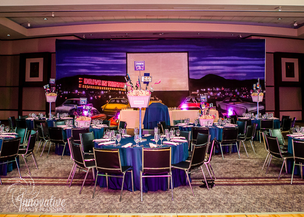 Leannes Drive In Movies and Decades | Bat Mitzvah movie theme decor by Innovative Party Planners at Oheb Shalom
