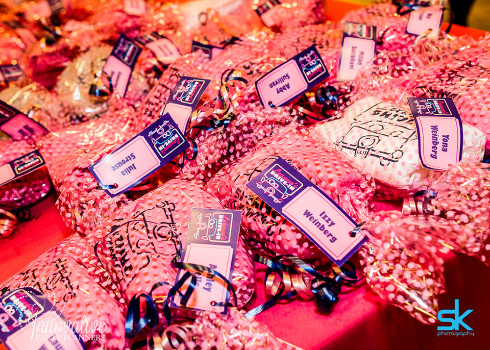 Leannes Drive In Movies and Decades | Party Favors | Bat Mitzvah movie theme decor by Innovative Party Planners at Oheb Shalom