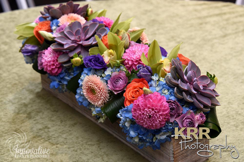 Garden Theme Bat Mitzvah   Kiddush Flower Centerpieces  Decor by Innovative Party Planners