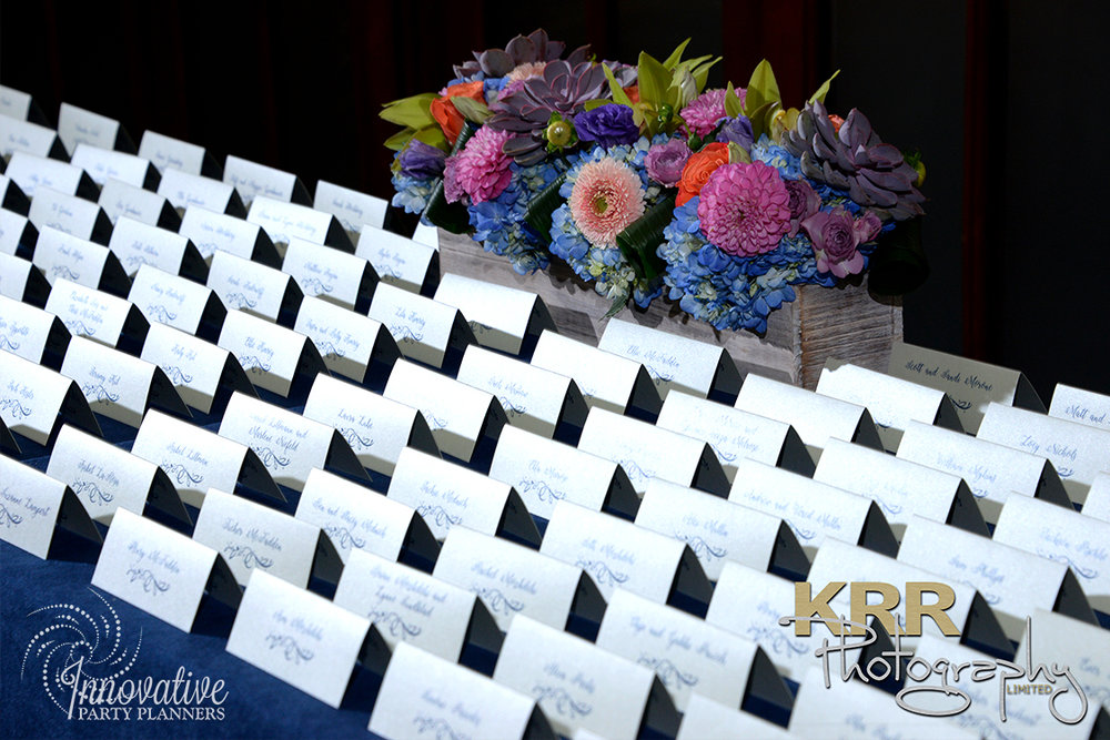 Garden Theme Bat Mitzvah   Place Cards  Decor by Innovative Party Planners