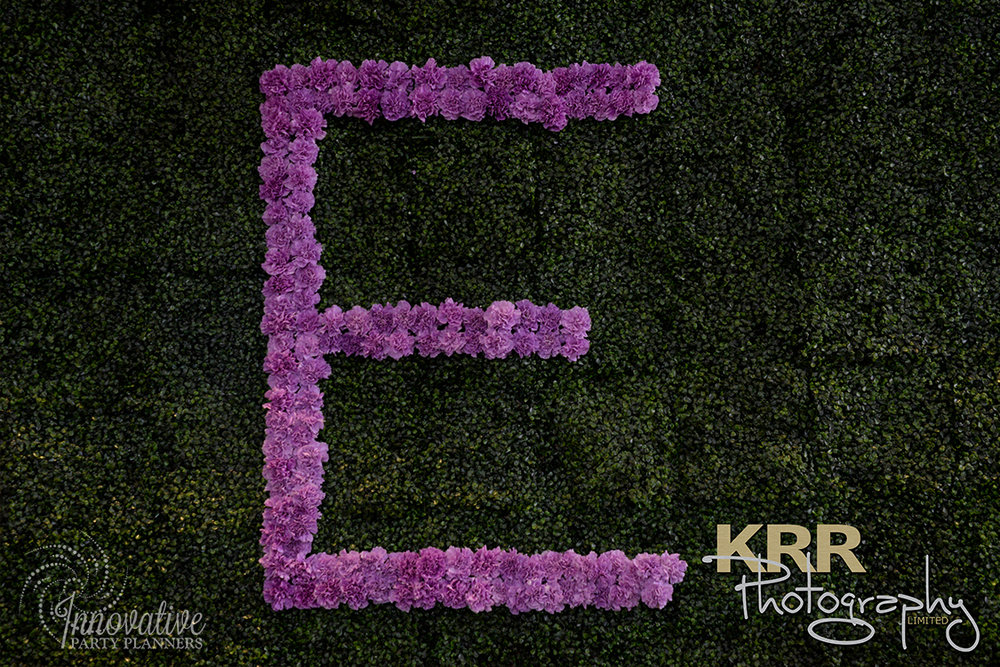 Garden Theme Bat Mitzvah   Flower Wall Treatment  Decor by Innovative Party Planners