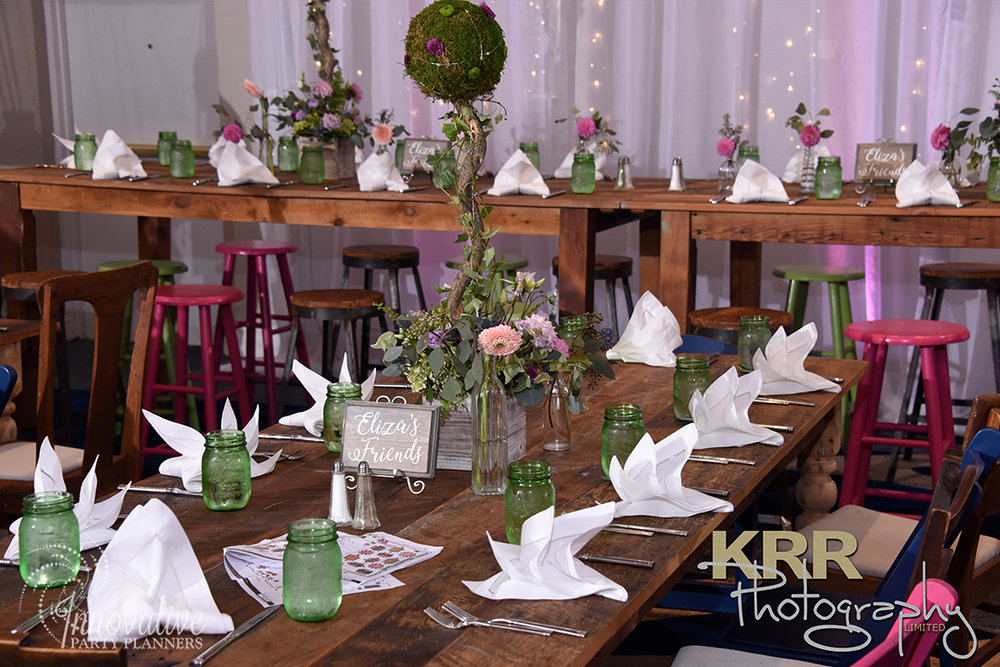 Garden Theme Bat Mitzvah   Teen Tables  Decor by Innovative Party Planners