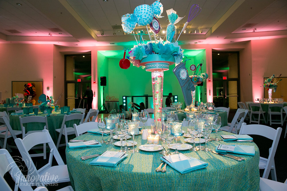 Kates Sweet Shoppe | Adult Table | Bat Mitzvah candy theme decor by Innovative Party Planners at Temple Beth Ami