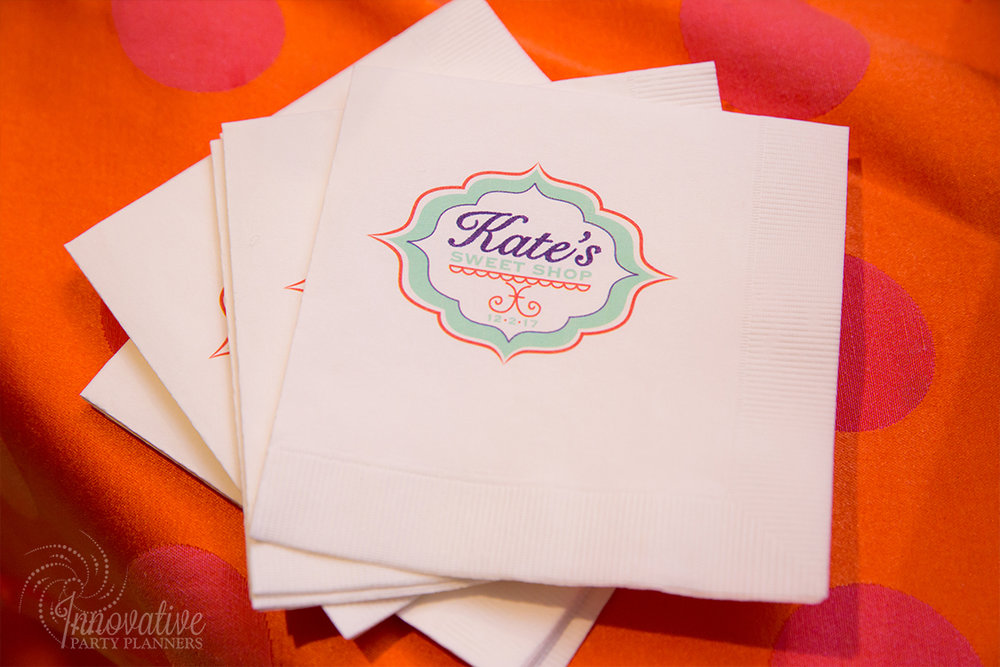 Kates Sweet Shoppe | Napkins | Bat Mitzvah candy theme decor by Innovative Party Planners at Temple Beth Ami