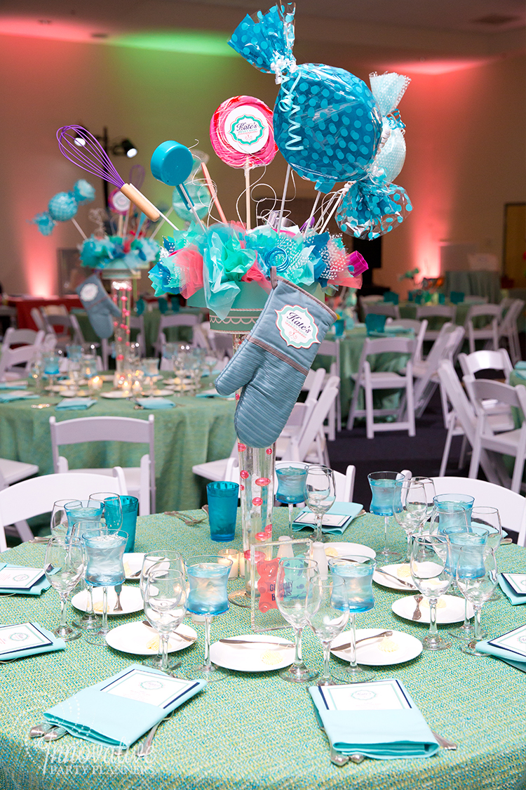 Kates Sweet Shoppe | Adult Centerpieces | Bat Mitzvah candy theme decor by Innovative Party Planners at Temple Beth Ami