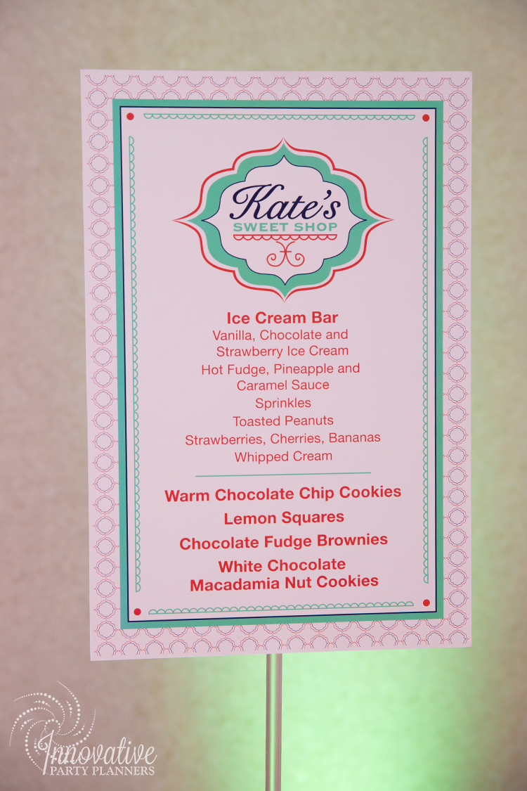 Kates Sweet Shoppe | Ice Cream Bar Sign | Bat Mitzvah candy theme decor by Innovative Party Planners at Temple Beth Ami
