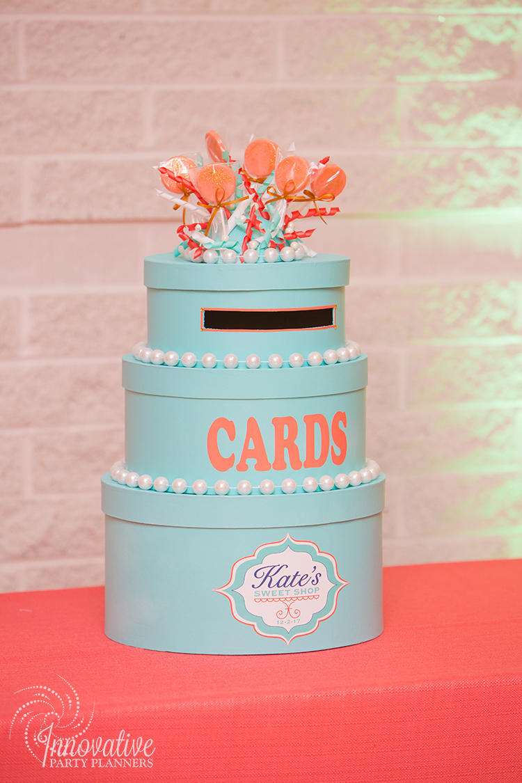 Kates Sweet Shoppe | Gift Box | Bat Mitzvah candy theme decor by Innovative Party Planners at Temple Beth Ami