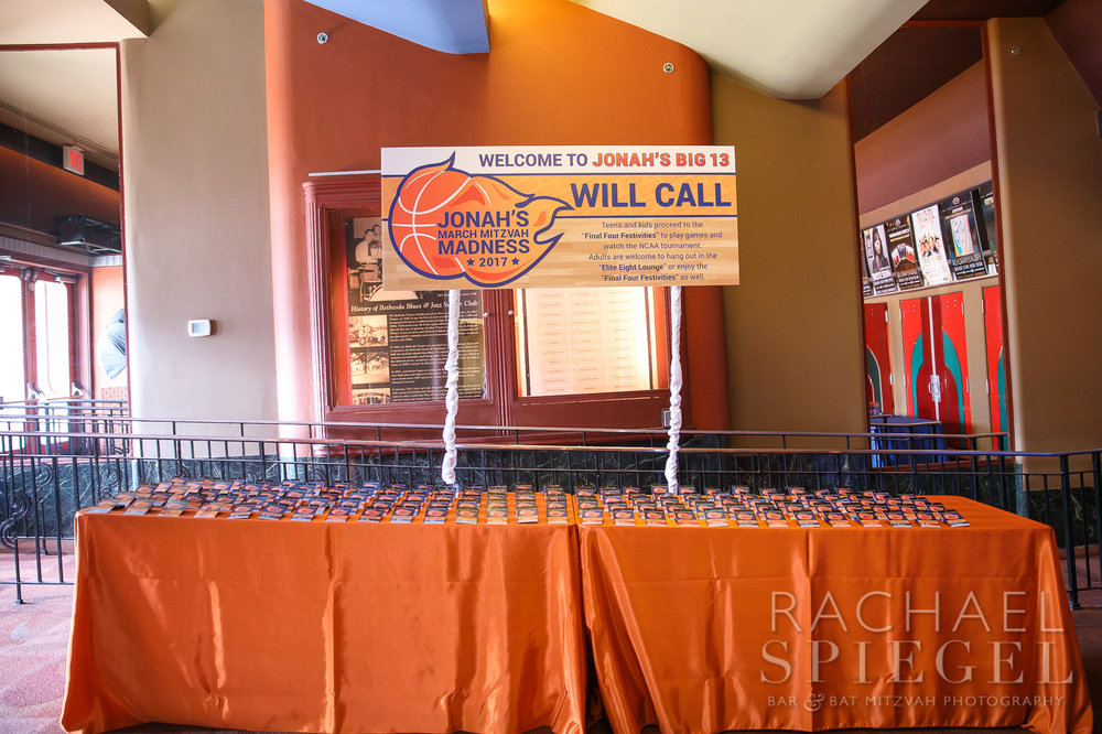 Jonahs March Madness | Place Cards Tickets Table | Bar Mitzvah basketball theme, march madness theme, final four theme, decor by Innovative Party Planners