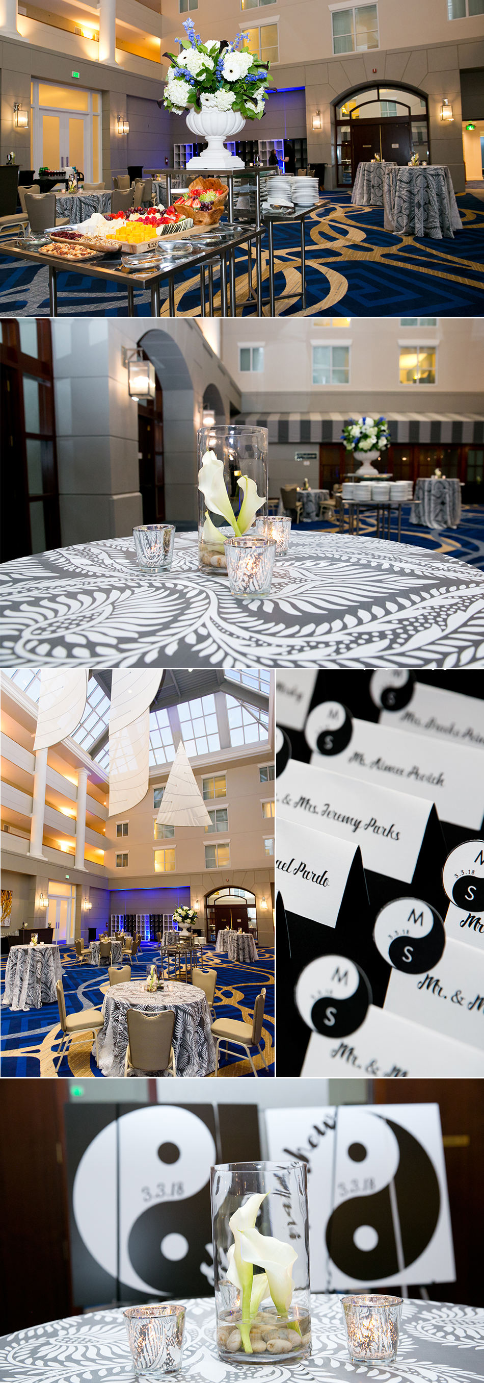 The Loews Annapolis atrium was filled with lots of short and tall cocktail tables accented with jumbo black and white cala lillies.
