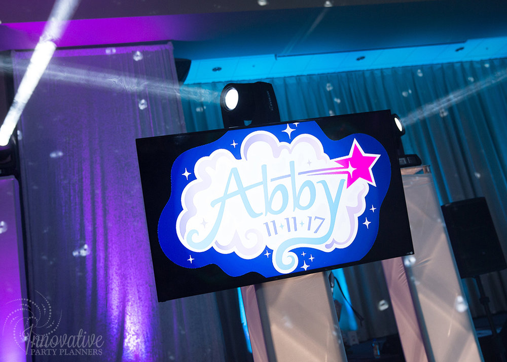 Abby's Starry Night | Custom Logo Design on TV Screen by Innovative Party Planners